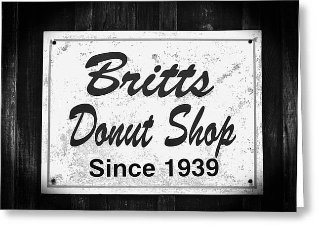 Britt's Donut Shop Sign 2 Greeting Card by Cynthia Guinn