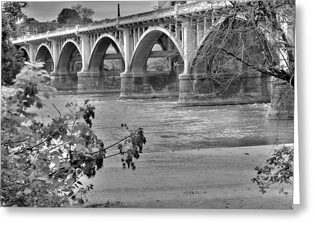 Greeting Card featuring the photograph Gervais Street Bridge Black And White by Lisa Wooten