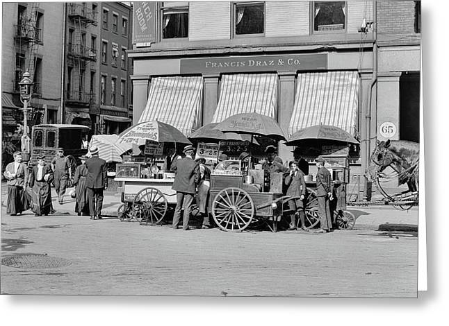 Broad St. Lunch Carts New York Greeting Card