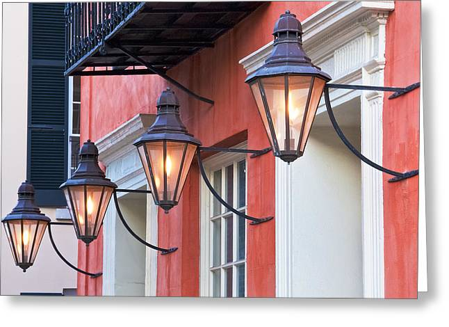 Vintage Wall Greeting Cards - Broad Street Lantern - Charleston SC  Greeting Card by Drew Castelhano