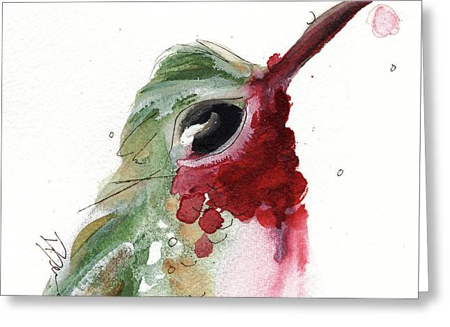 Greeting Card featuring the painting Broadtail Hummingbird by Dawn Derman