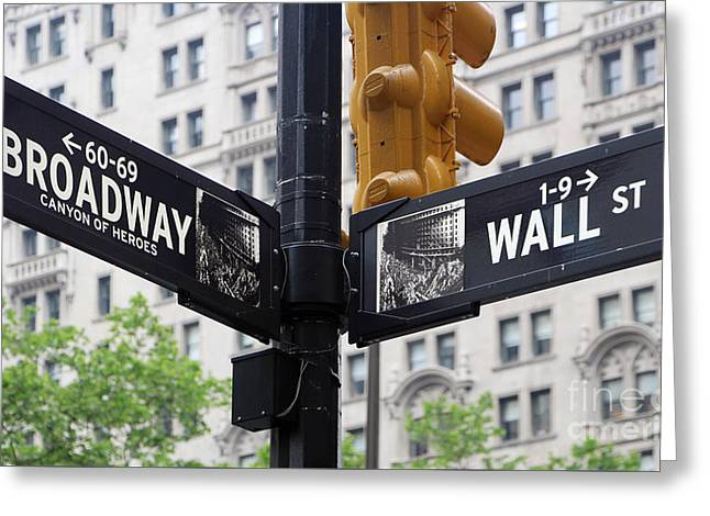 Broadway And Wall Street Street Sign 2 Greeting Card