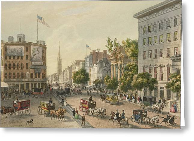 Broadway Greeting Card by Augustus Kollner
