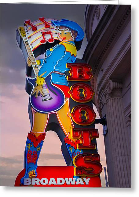 Broadway Boot Co. Sign, Nashville, Tennessee Greeting Card by Art Spectrum