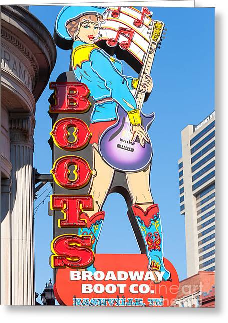 Broadway Boot Company Sign I Greeting Card by Clarence Holmes
