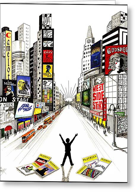 Broadway Dreamin' Greeting Card by Marilyn Smith