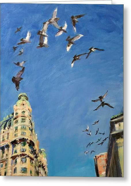 Broadway Pigeons No. 1 Greeting Card by Peter Salwen