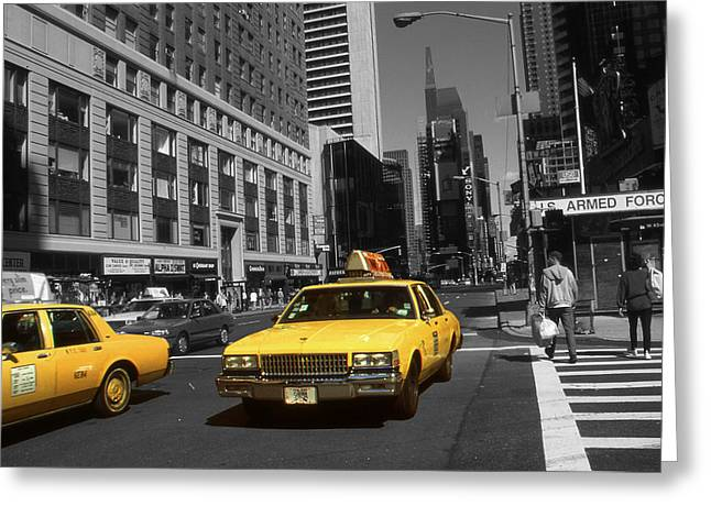 New York Broadway - Yellow Taxi Cabs Greeting Card