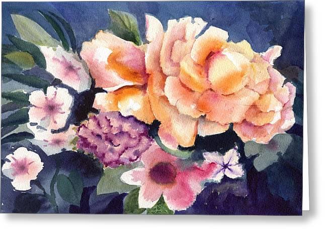 Brocade Flowers Greeting Card