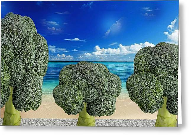 Broccoli Avenue Greeting Card by Manfred Lutzius