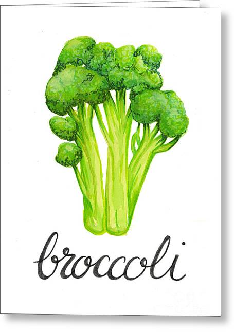 Greeting Card featuring the painting Broccoli by Cindy Garber Iverson