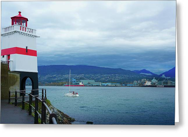 Brockton Point Lighthouse In Stanley Park Greeting Card by Art Spectrum