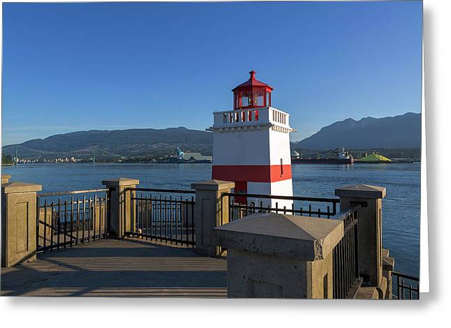Brockton Point Lighthouse In Vancouver Bc Greeting Card by David Gn