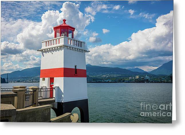 Brockton Point Lighthouse Greeting Card by Inge Johnsson
