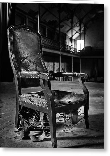 brokan chair at deserted theatre - BW abandoned places urban exp Greeting Card by Dirk Ercken