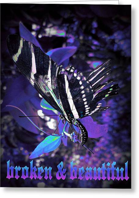 Greeting Card featuring the photograph Broken And Beautiful Butterfly by David Mckinney