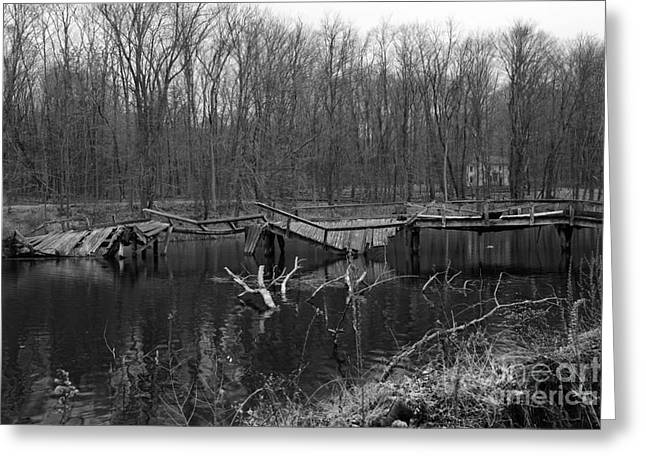 Broken Bridges In Black And White Greeting Card