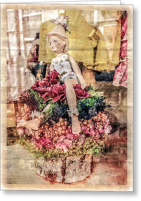 Greeting Card featuring the photograph Broken Doll In The Window by Melinda Ledsome