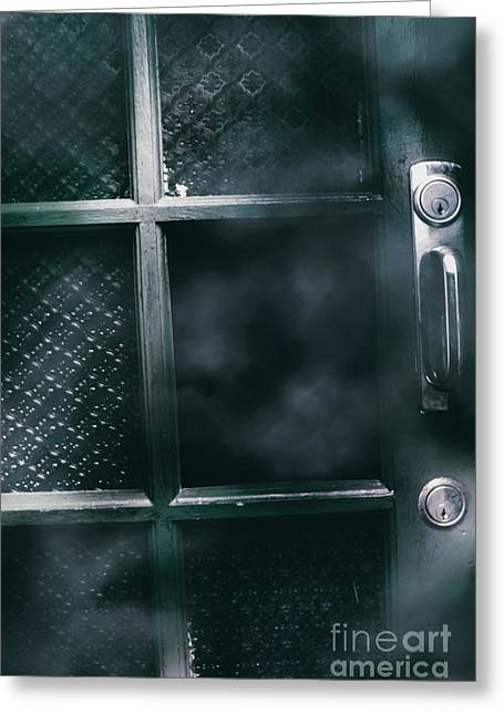 Broken Doors With Hollow Holes Greeting Card