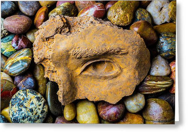 Broken Eye Statue Fragment Greeting Card by Garry Gay