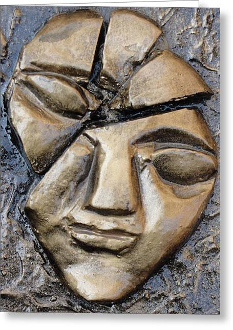 Broken Face Greeting Card by Rajesh Chopra