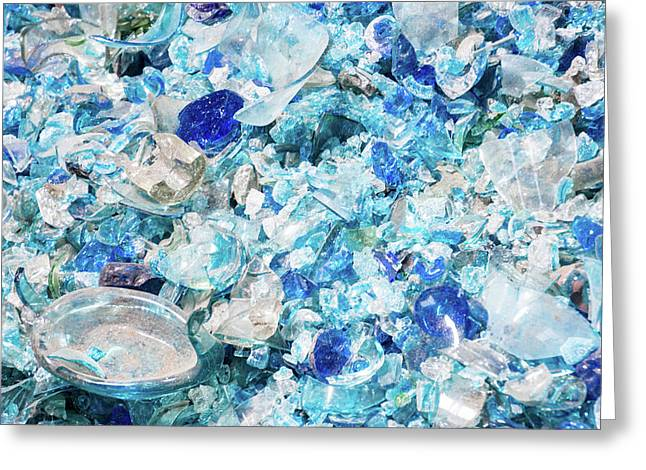 Broken Glass Blue Greeting Card