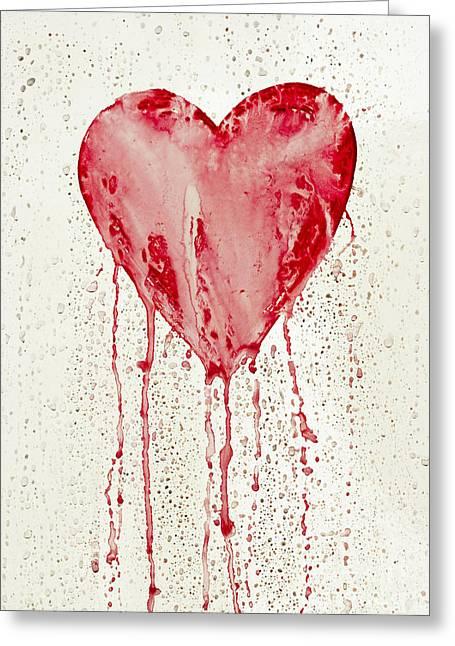 Broken Heart - Bleeding Heart Greeting Card by Michal Boubin
