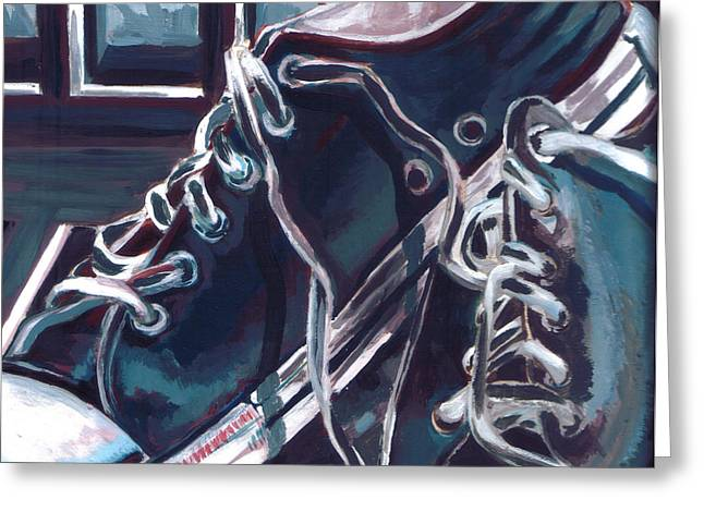Greeting Card featuring the painting Broken-in Converse by Shawna Rowe
