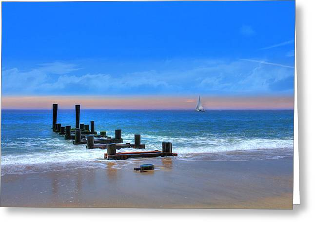 Greeting Card featuring the digital art Broken Pier by Sharon Batdorf