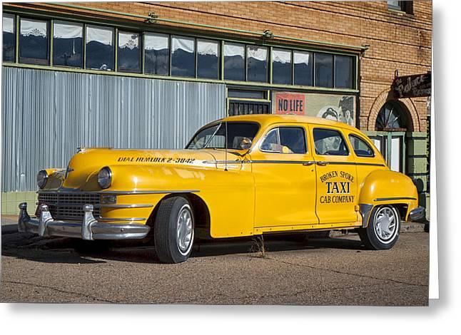 Broken Spoke Chrysler Taxi In Lowell Arizona Greeting Card by Mary Lee Dereske