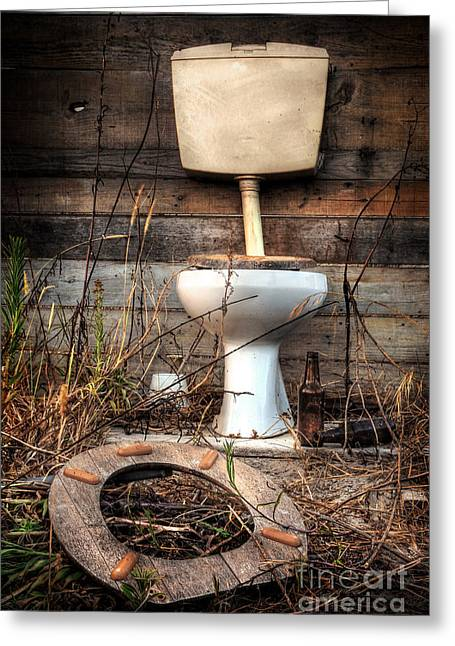 Old Wood Cabin Greeting Cards - Broken Toilet Greeting Card by Carlos Caetano