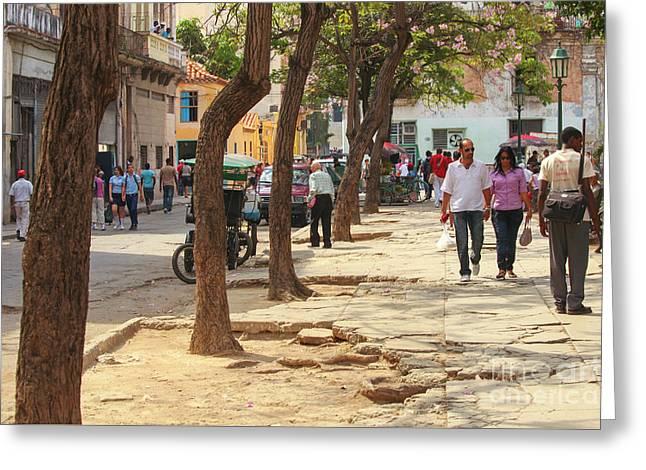 Broken Up Street In Havana Greeting Card