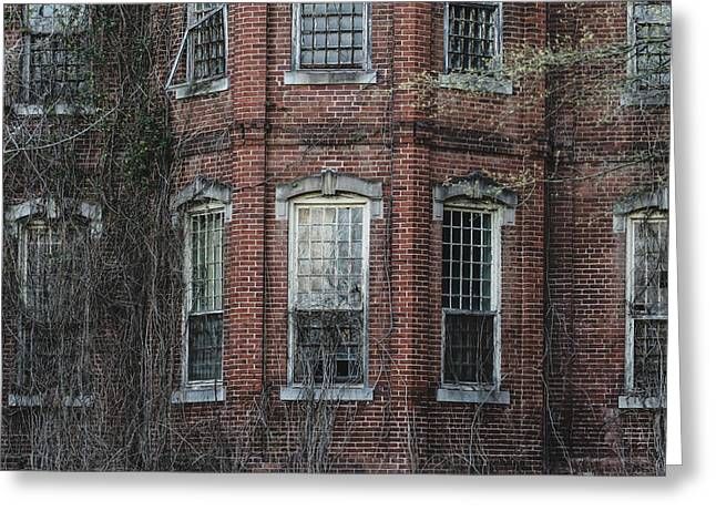 Broken Windows On Abandoned Building Greeting Card by Kim Hojnacki