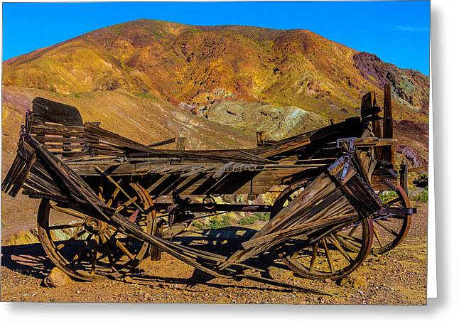 Broken Wooden Wagon Greeting Card by Garry Gay