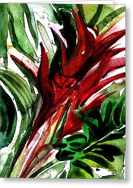 Bromelia Greeting Card by Mindy Newman
