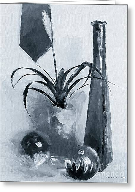 Bromeliad In Shades Of Black White Greeting Card