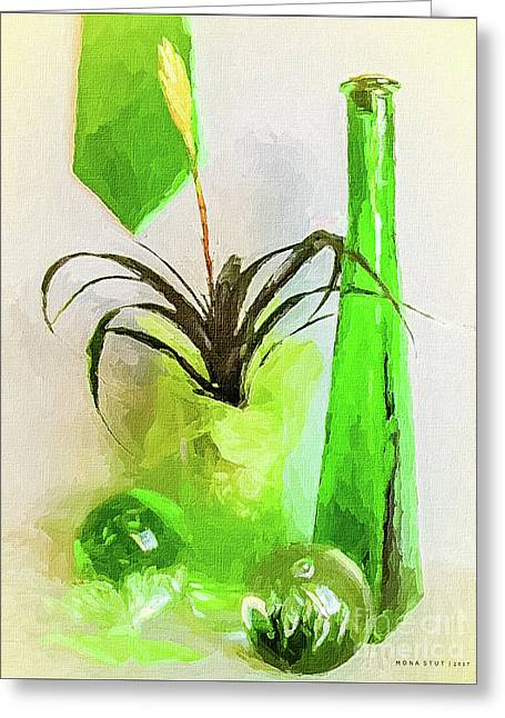 Bromeliad In Shades Of Green Greeting Card