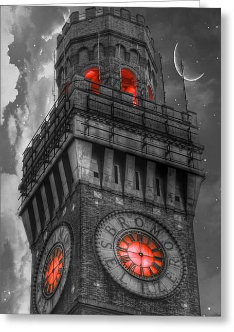 Seltzer greeting cards fine art america bromo seltzer tower baltimore red clock greeting card m4hsunfo