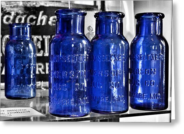 Seltzer greeting cards fine art america bromo seltzer vintage glass bottles collection backwards z greeting card m4hsunfo