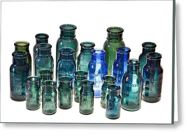 Bromo Seltzer Vintage Glass Bottles Collection Greeting Card by Marianna Mills