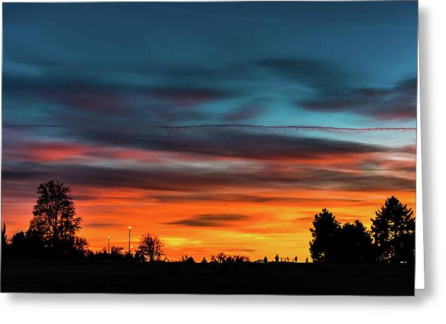 Broncos Sunset In Denver Greeting Card