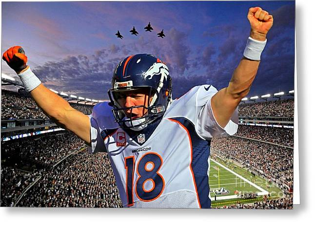 Broncos Win Super Bowl Fifty Greeting Card by John Malone