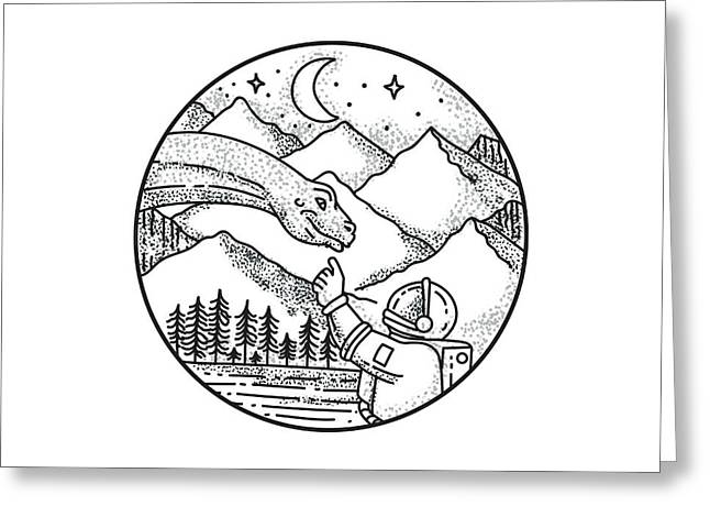 Brontosaurus Astronaut Mountain Circle Tattoo Greeting Card by Aloysius Patrimonio