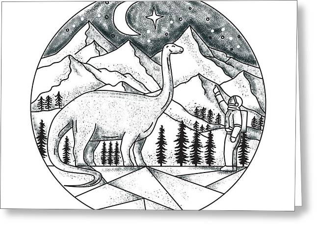 Brontosaurus Astronaut Mountains Tattoo Greeting Card by Aloysius Patrimonio