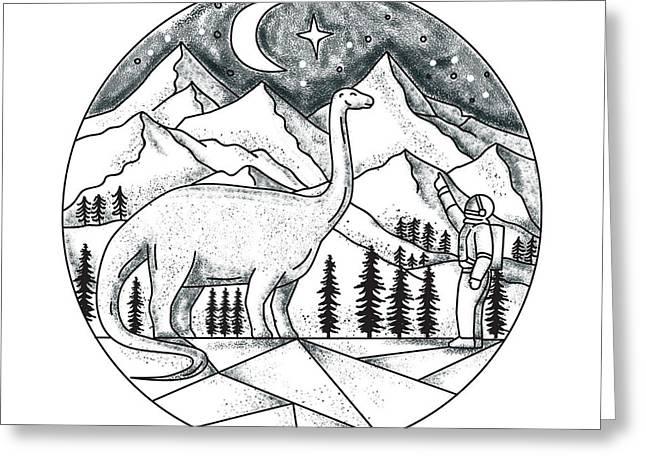 Brontosaurus Astronaut Mountains Tattoo Greeting Card