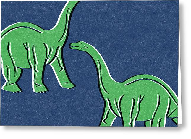 Brontosaurus Greeting Card by Linda Woods
