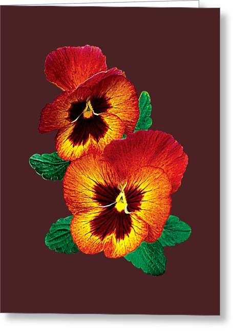 Bronze And Yellow Pansies Greeting Card