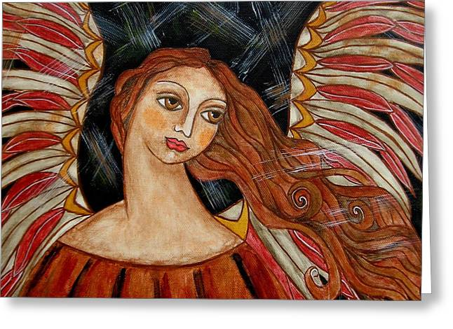 Bronze Angel Greeting Card by Rain Ririn
