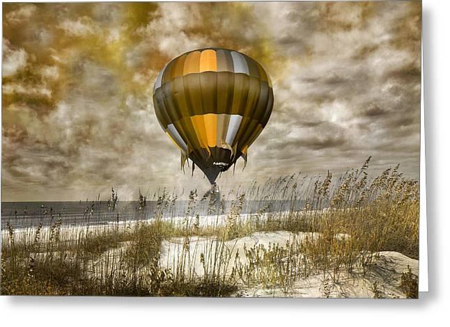 Bronze Beach Ballooning Greeting Card by Betsy Knapp
