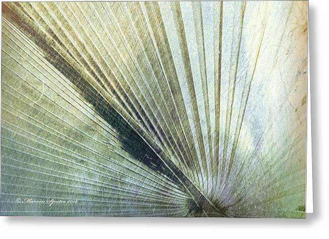 Bronze Blue Palm Frond Lh Greeting Card by Marvin Spates